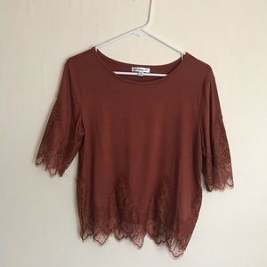 Lace top vintage style Rust Orange loose fit